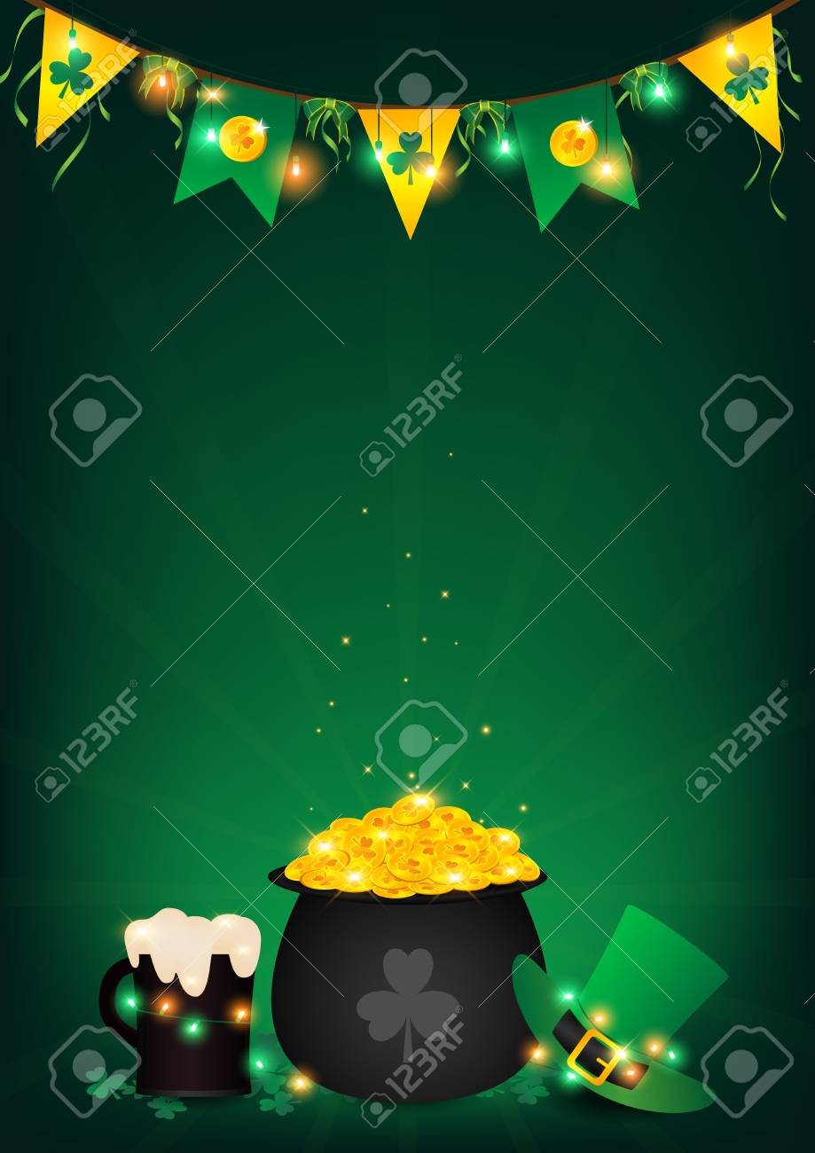 54072106c55e6 St. Patrick s Day vertical background. Contains fairy lights tie up around  a pot of gold coin. Top hanging bunting and holding string lights
