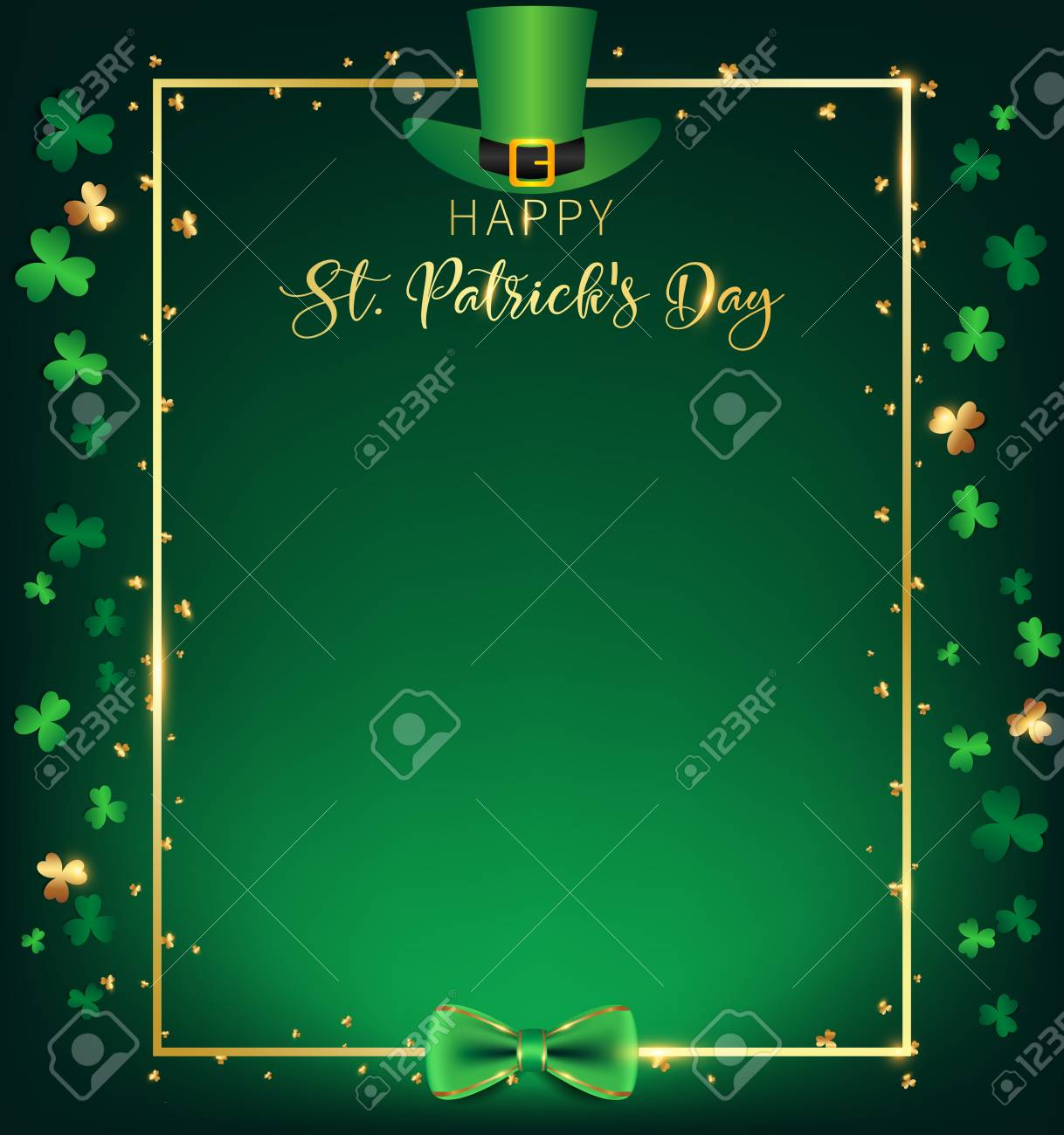 f1035bef St. Patrick's Day vertical frame contain green top hat over golden border  ,shamrock along with border ,dark green background and golden text, free  space on ...