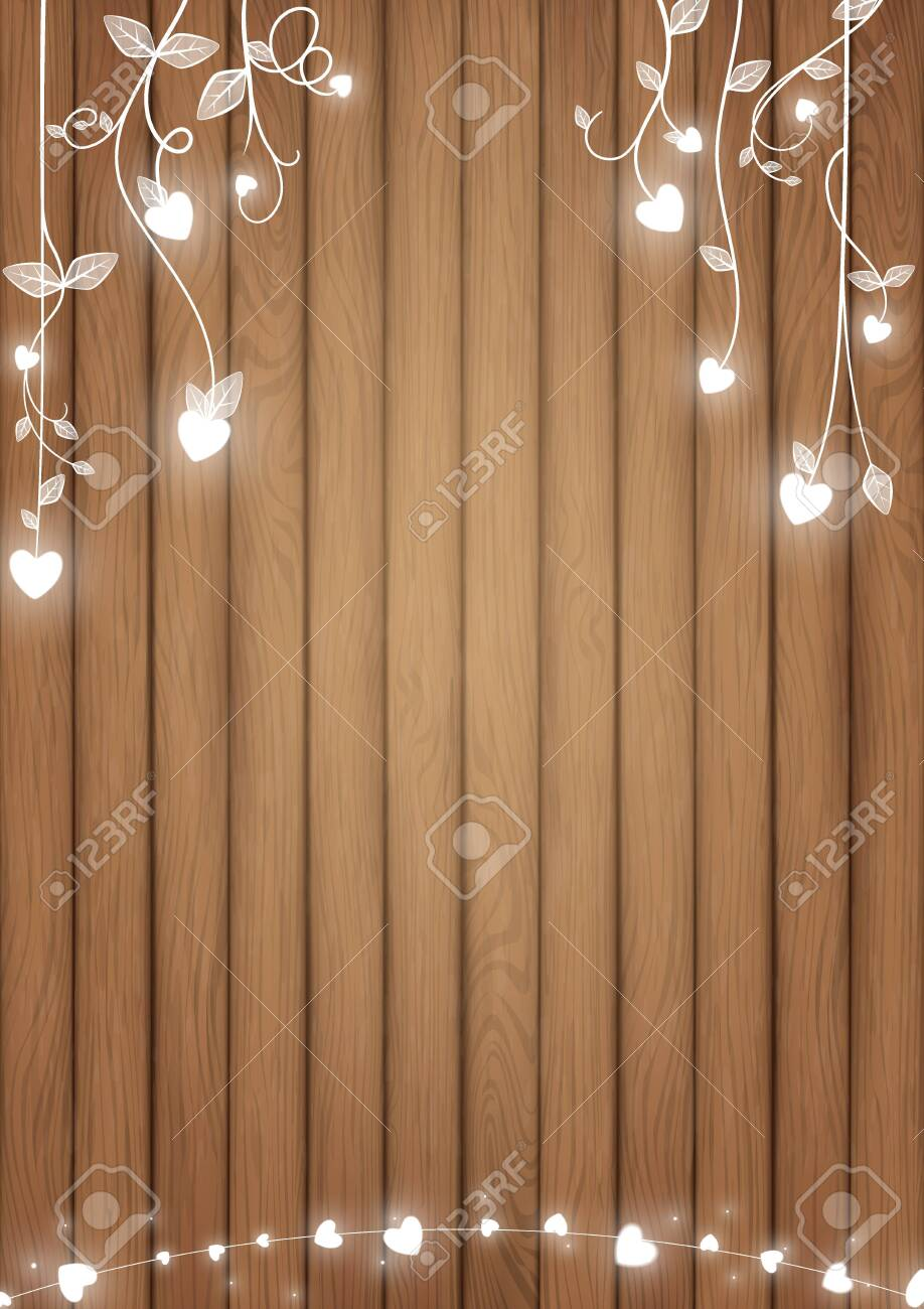 Romantic background conception included brown wood planks and white glowing heart as doodle vines style - 135771043