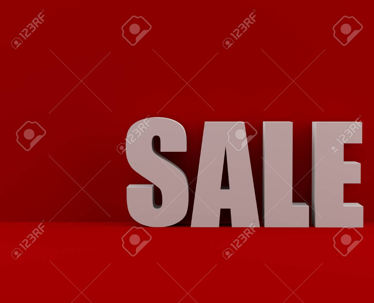 Big white Sale text on red background Stock Photo - 17463991