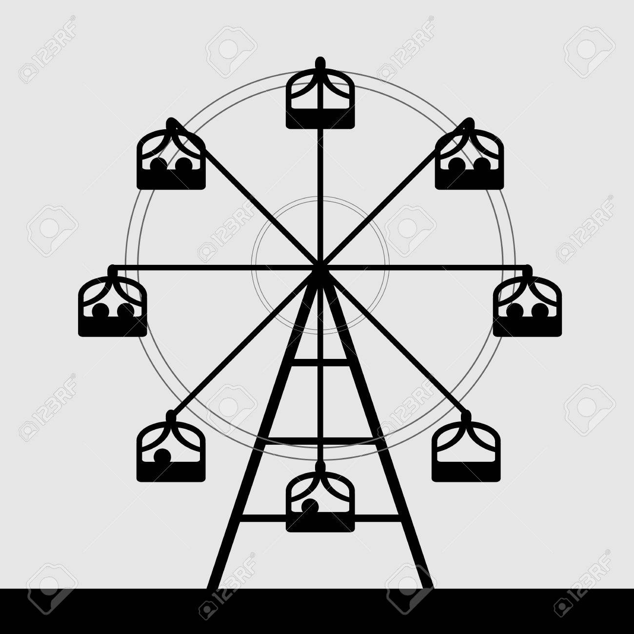 Vector Of Ferris Wheel Black And White Color Royalty Free Cliparts