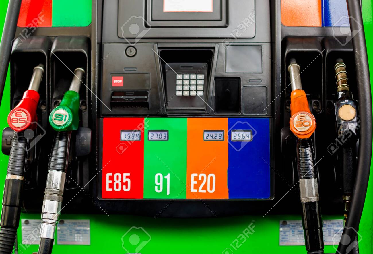 E85 Gas Stations >> Gas Pump Nozzles In A Service Station Close Up Fuel Nozzles