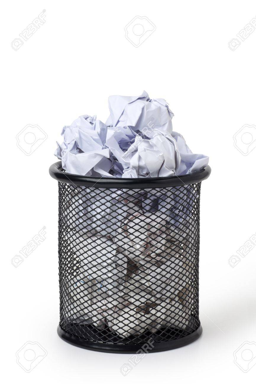 Wastepaper Basket Wastepaper Basket Full Of Crumpled Paper Stock Photo Picture And