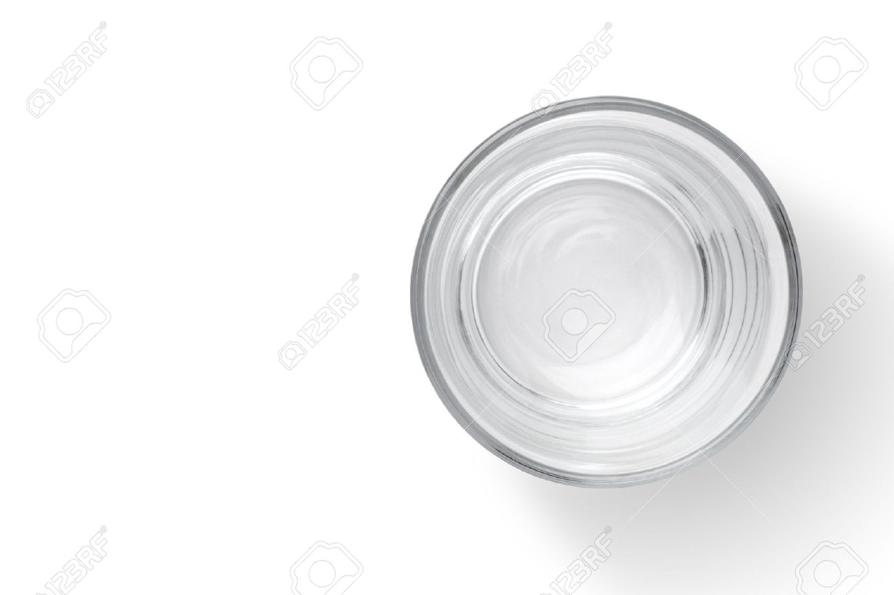 Top view of empty glass cup isolated on white background - 57070927