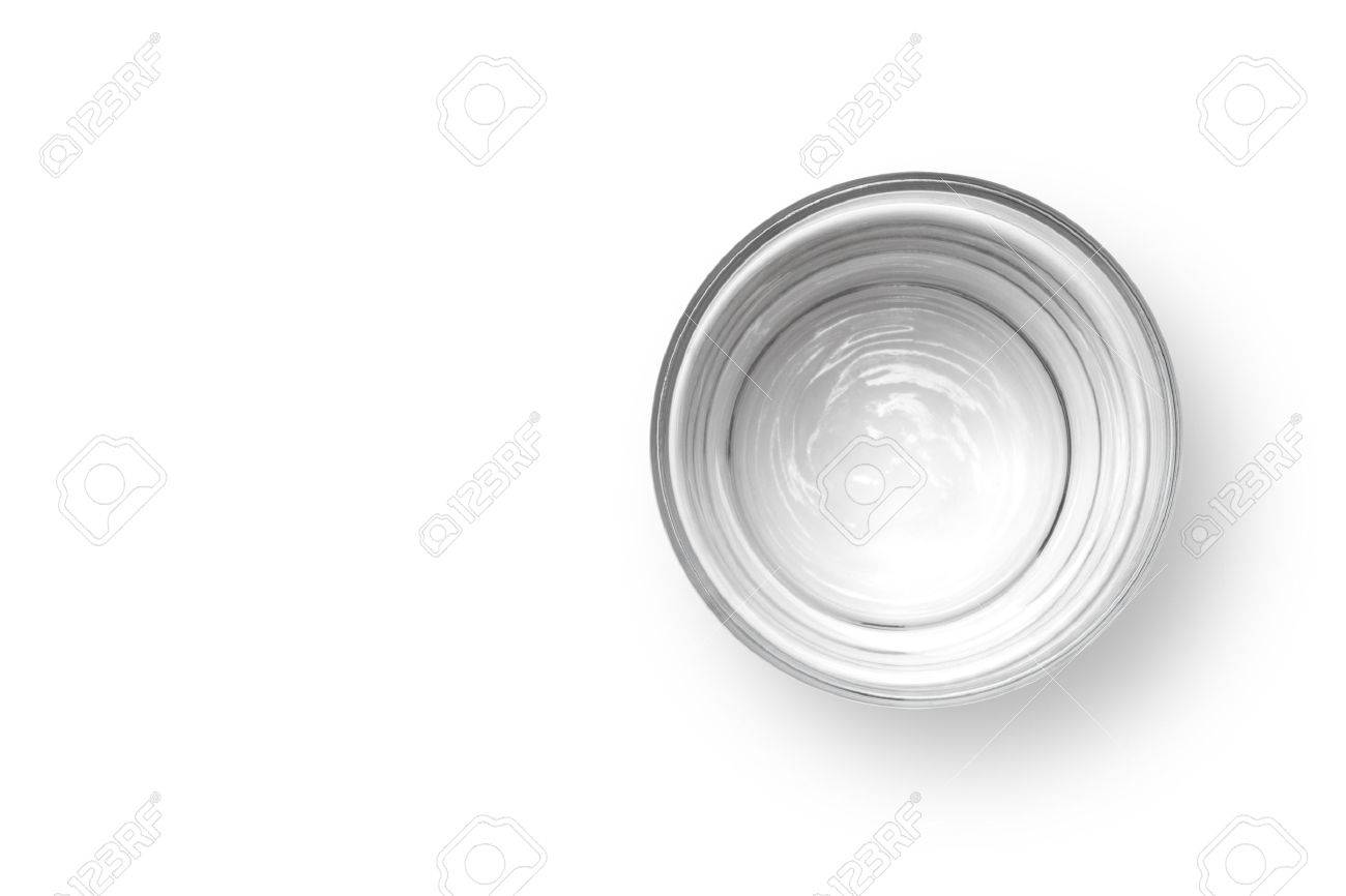 Cup Of Water On White Background Top View Stock Photo Picture And