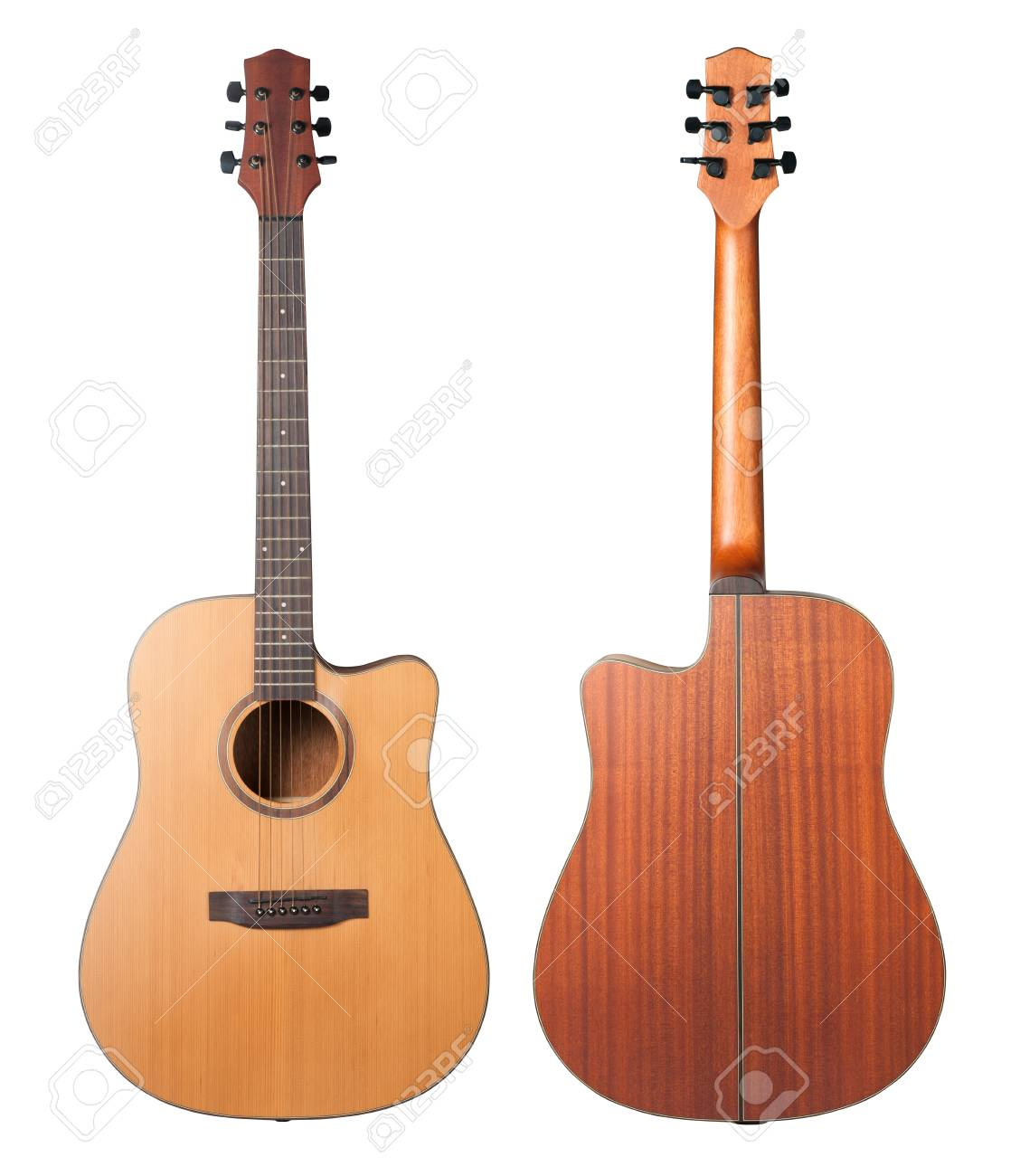 Acoustic Guitar Isolated On White Background Stock Photo Picture