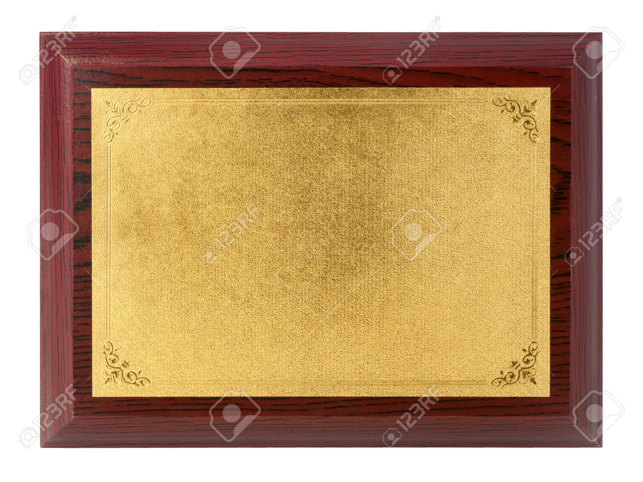Wood plaque with gold plate isolate on white background - 168244645