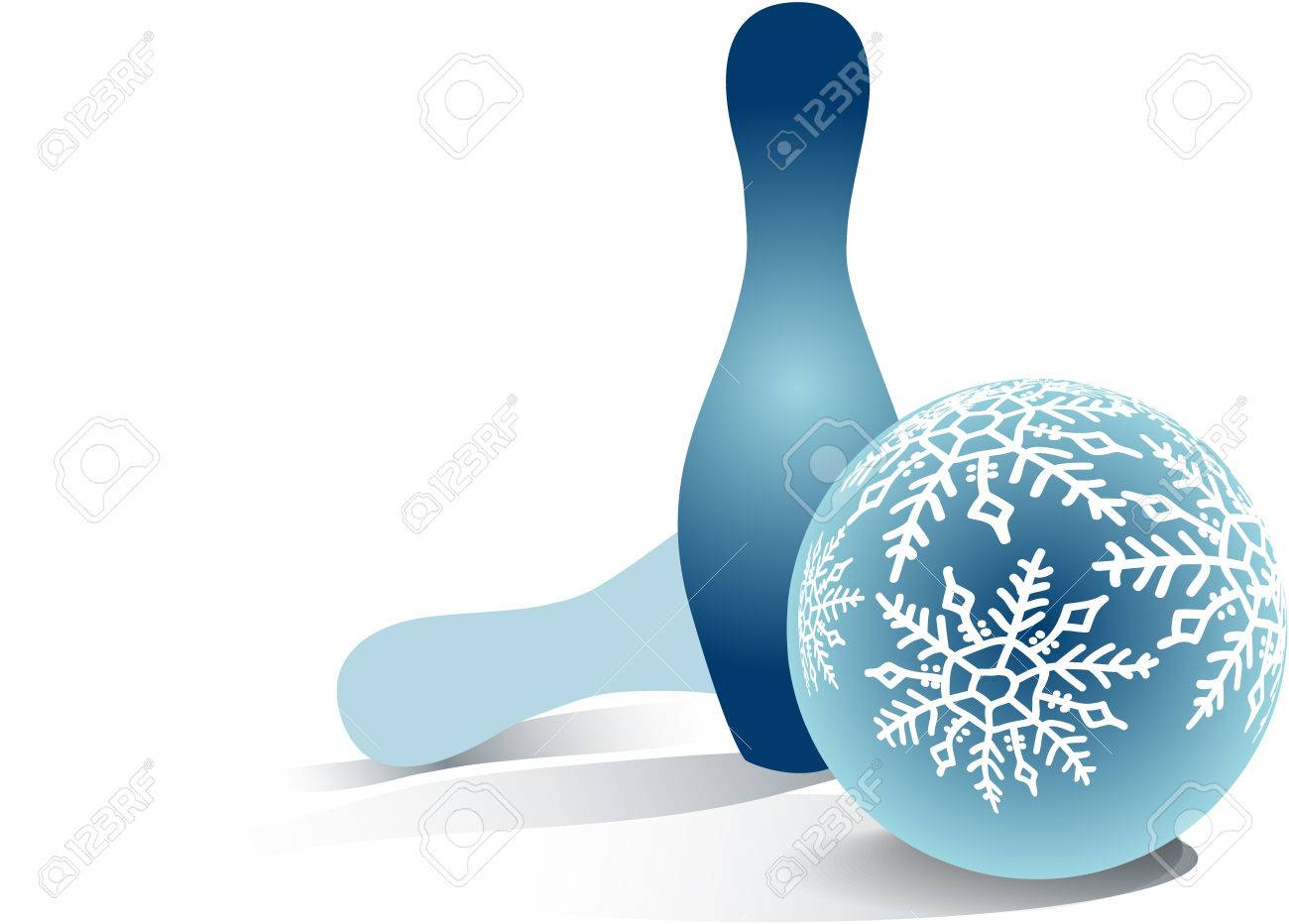 christmas bowling ball and two skittles stock photo picture and
