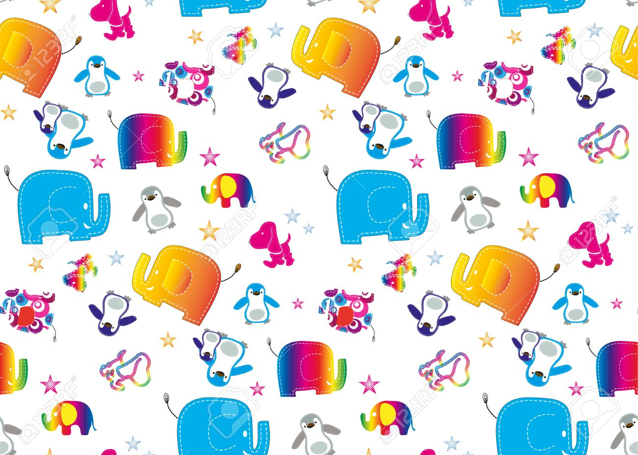 Seamless Elephant Kids Pattern Wallpaper Background Stock Photo