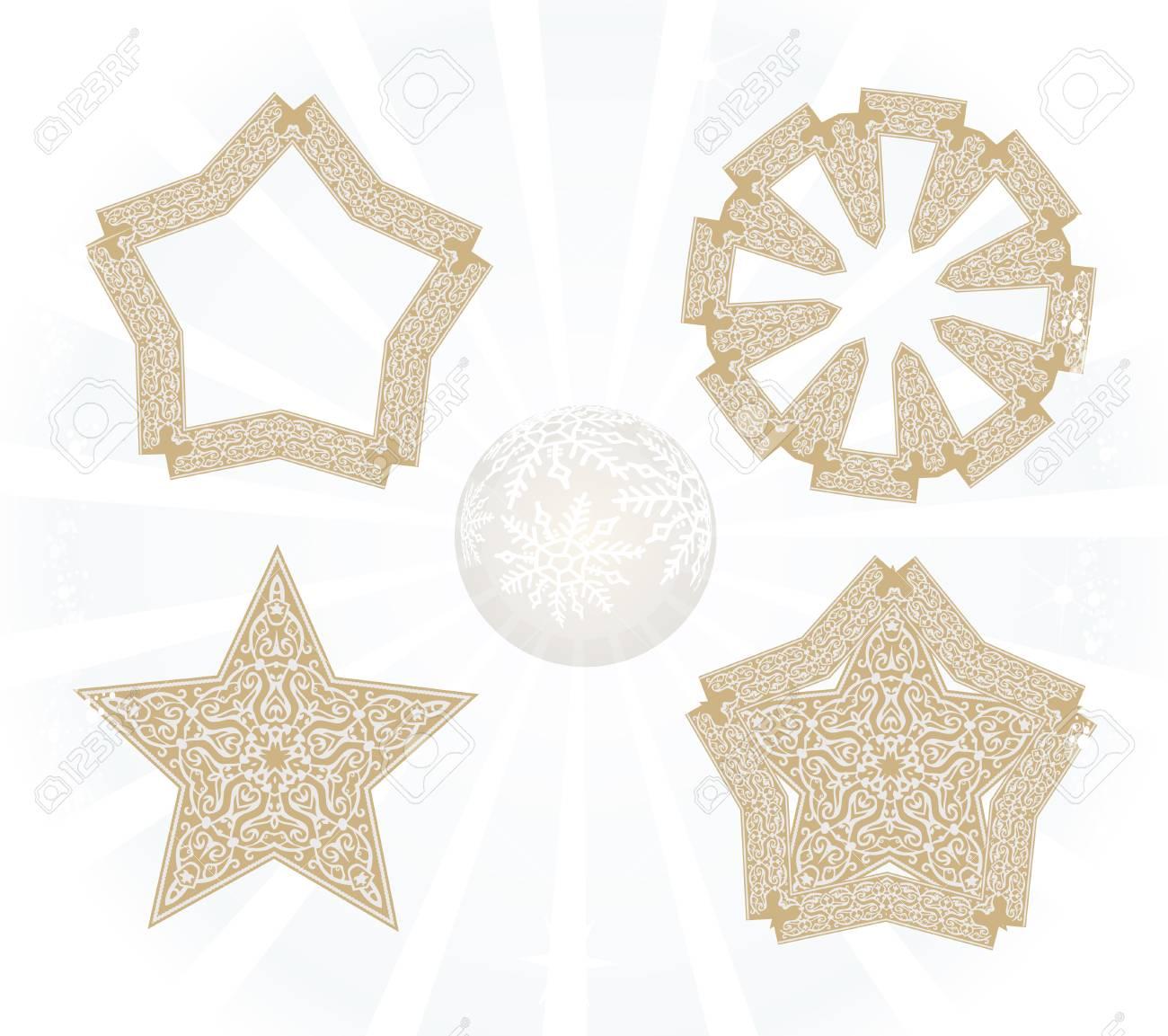 Conjunto De Bonitas Estrellas De Navidad Aislado En Blanco