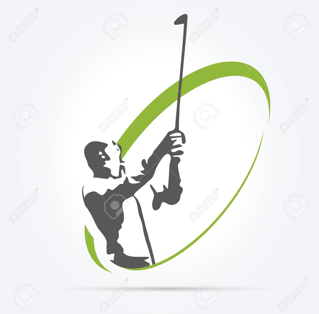 Woman Golf Silhouette Illustration On White Background Royalty Free