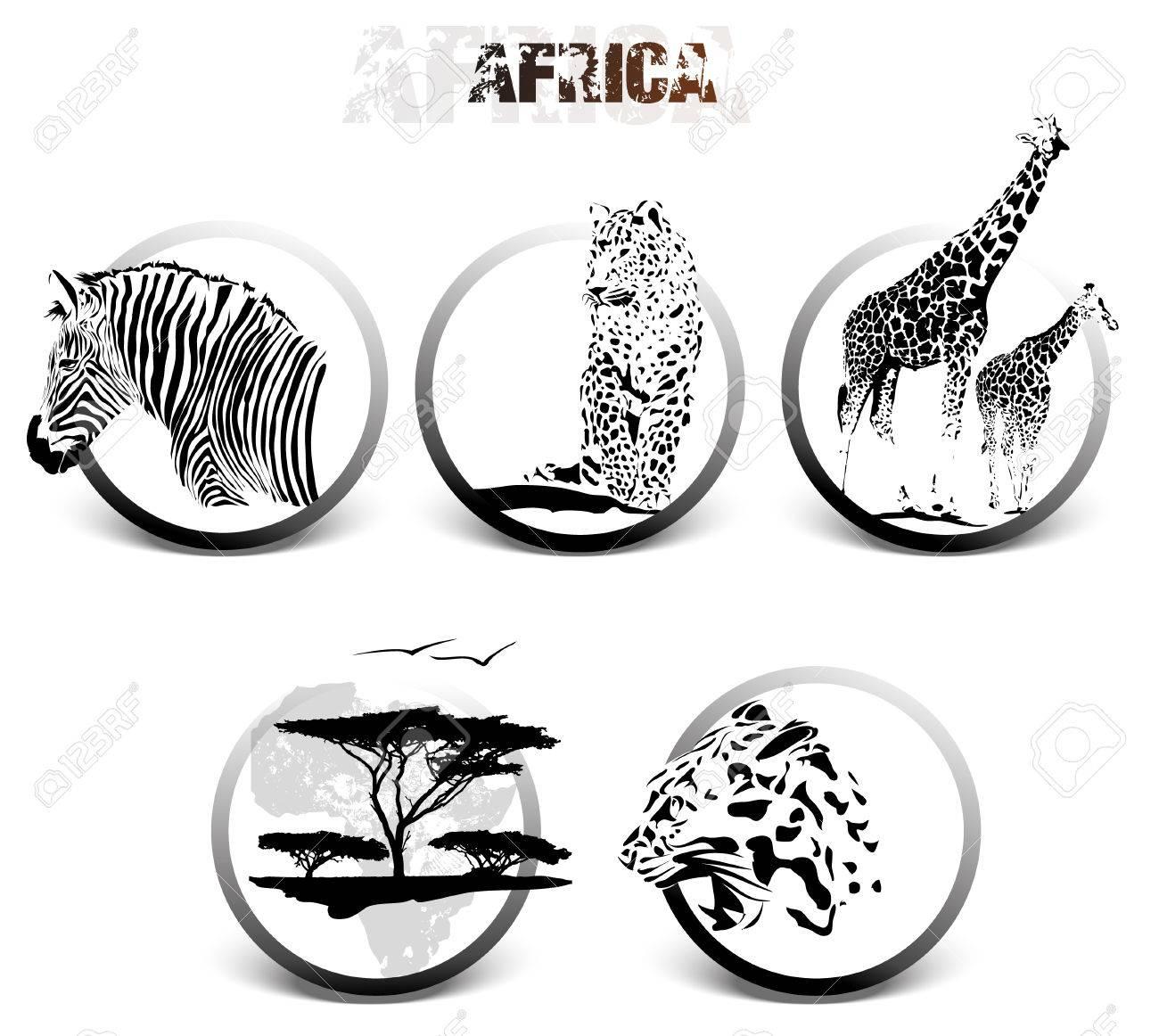 アフリカの動物のシルエット イラスト白背景、シマウマ、キリン、ヒョウ