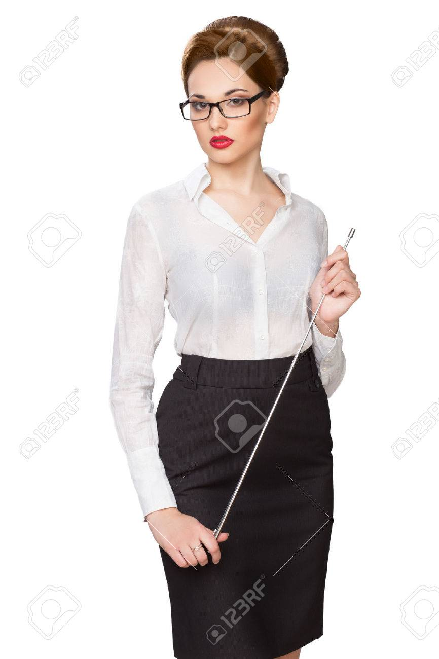 Young beautiful girl with a pointer in points - 26326201