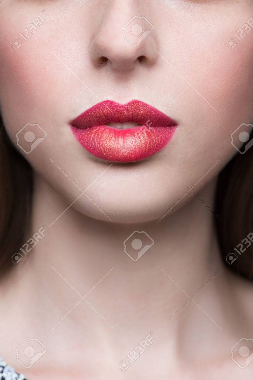 Sexy Lips. Beauty Red Lip Makeup Detail. - 39504372