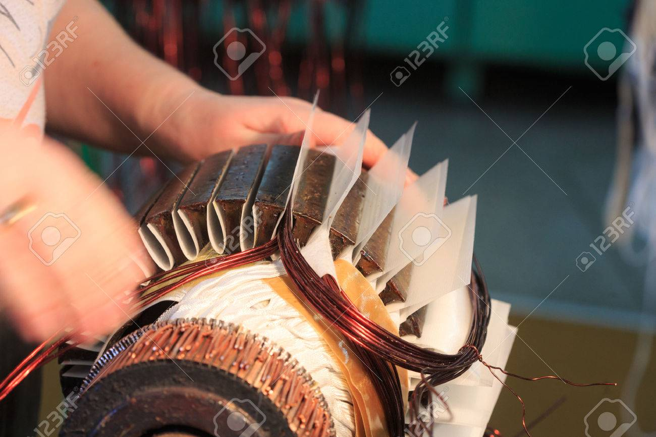 Stator of a big electric motor. repair factory - 47786588