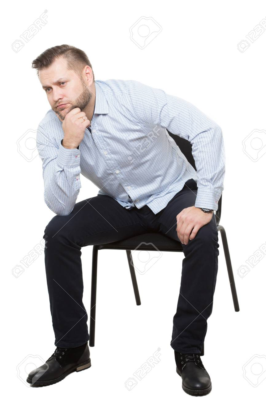 man sitting on chair. Isolated white background - 48432772