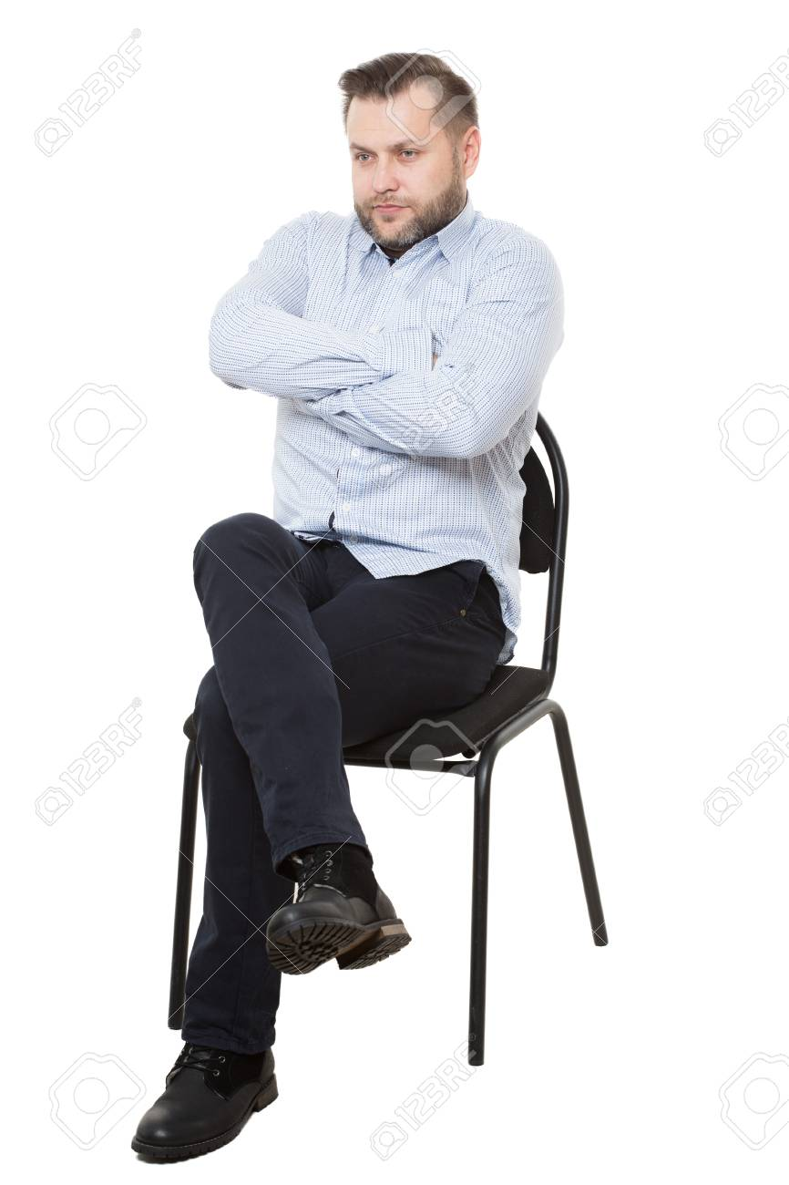 man sitting on chair. Isolated white background - 48432774