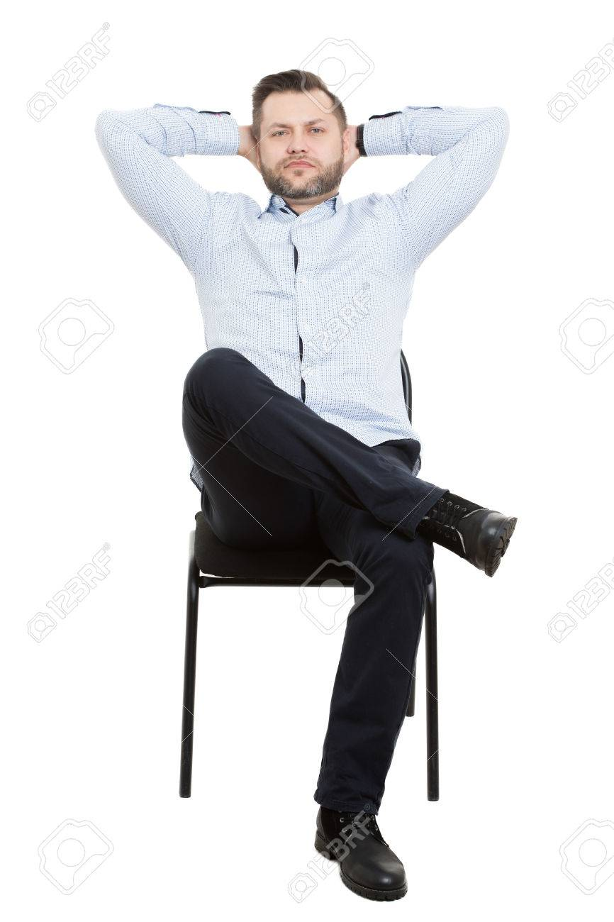 Amazing Man Sitting On Chair Isolated White Background Body Language Caraccident5 Cool Chair Designs And Ideas Caraccident5Info
