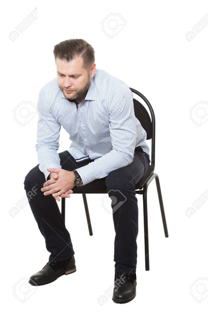 Swell Man Sitting On Chair Isolated White Background Body Language Caraccident5 Cool Chair Designs And Ideas Caraccident5Info