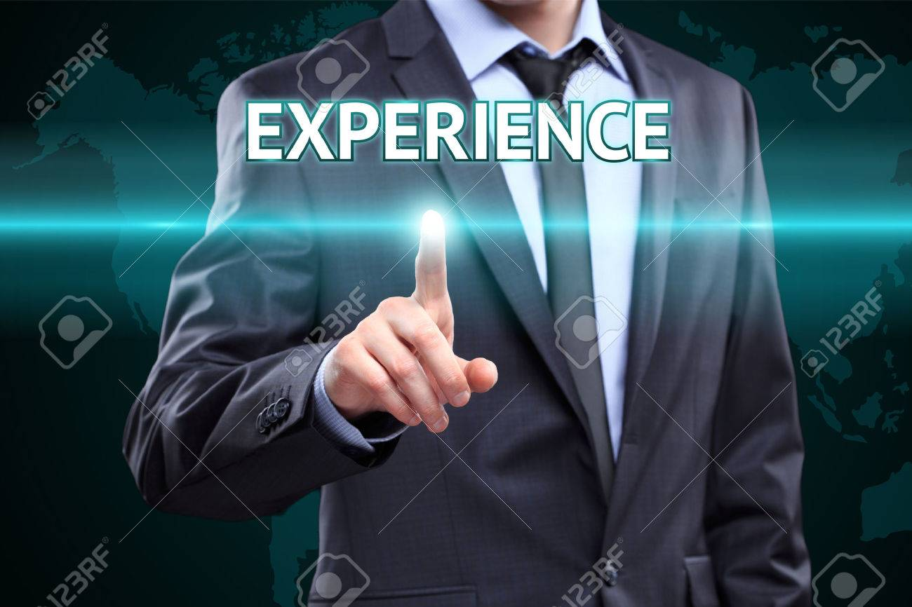 business, technology, internet and networking concept - businessman pressing experience button on virtual screens - 51693503