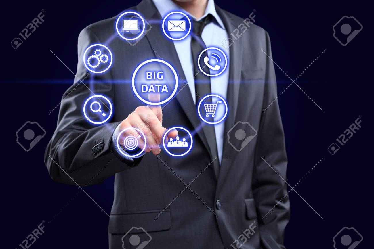 Data mining ,dataminig, process and big data analysis ,bigdata, issue concept. Analyst click on button with text data mining linked with people. - 51845675