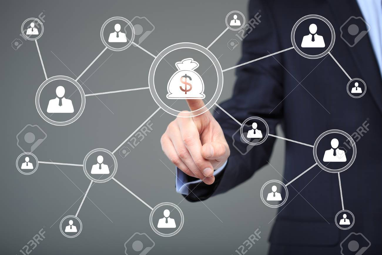 Businessman pushing button with icon dollar virtual - 51899566