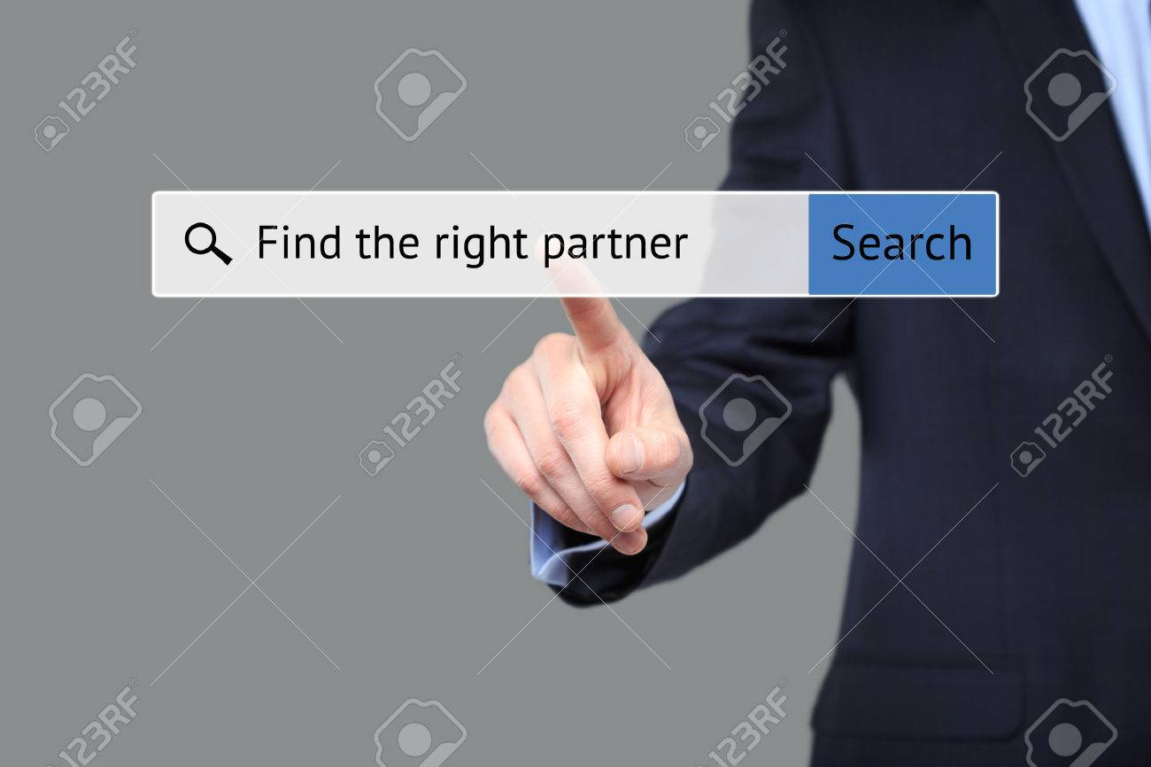 businessman presses a button in the browser - to find a partner. internet concept - 52254565