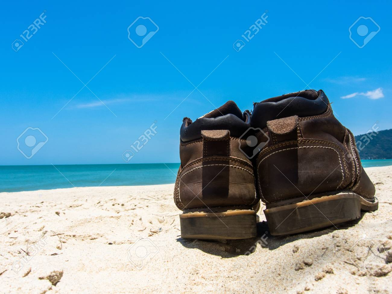 eb382471bc2c Leather shoes sneaker on beach in Thailand Welcome to summer Season in  thailand