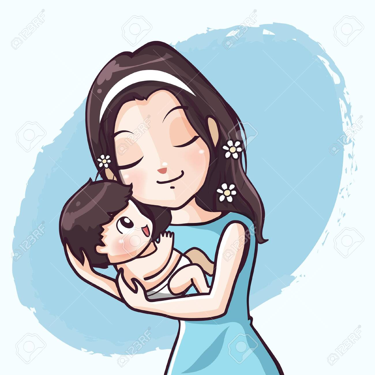 Mother Cuddled Baby Cute Hug With Warm Love Royalty Free Cliparts Vectors And Stock Illustration Image 122743381