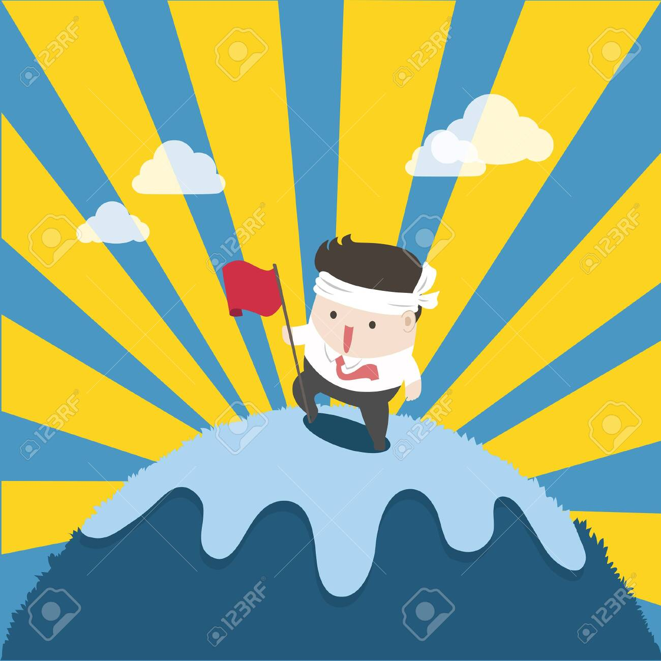 the businessman on top success and effort. To reach the goal is high like mountain. - 123424507