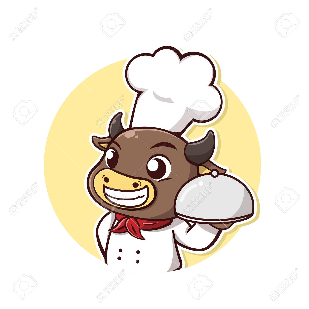 Character cow take a chef dress and steak holder. - 123424510