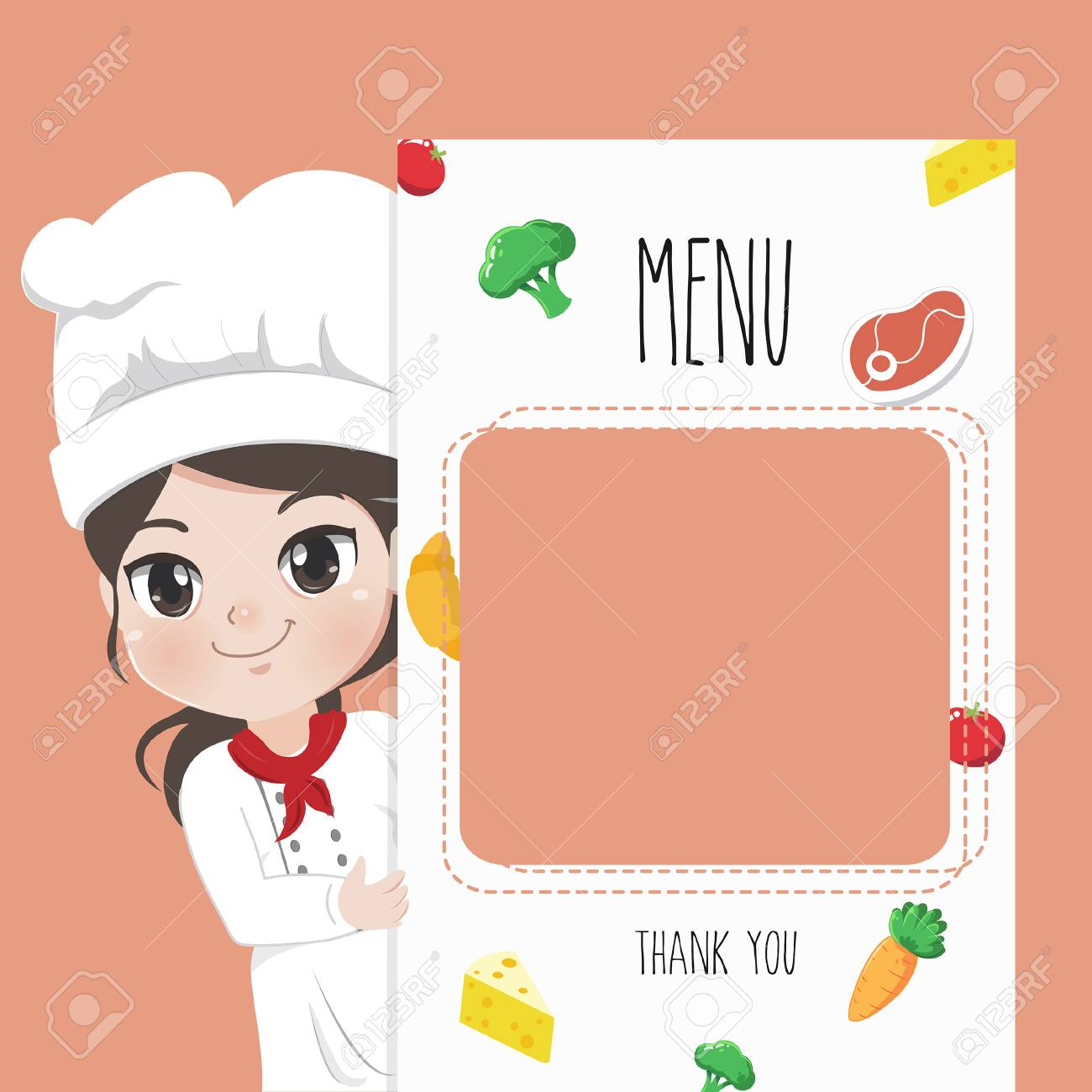 Female chef recommends food menu. She is happy to have customers enjoy delicious food. - 123424524