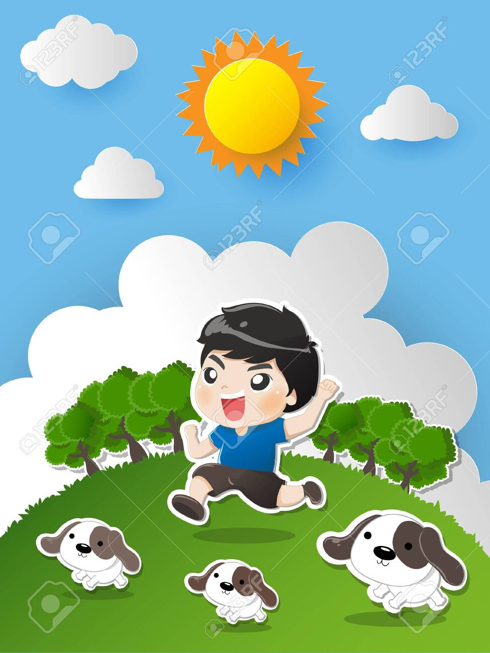 Kid running in the garden with dogs laugh bright and happy withe great day. - 123527556