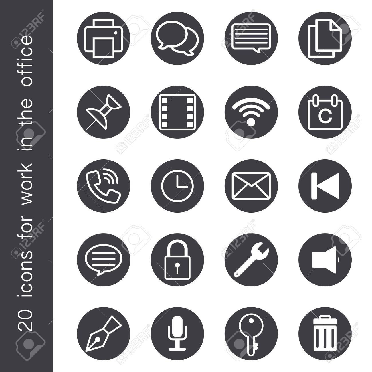 Icons for office use with various styles. - 123528997