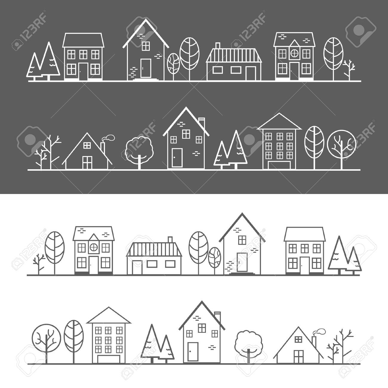 Icons, houses, trees and villages on a dark gray and white background - 123528998