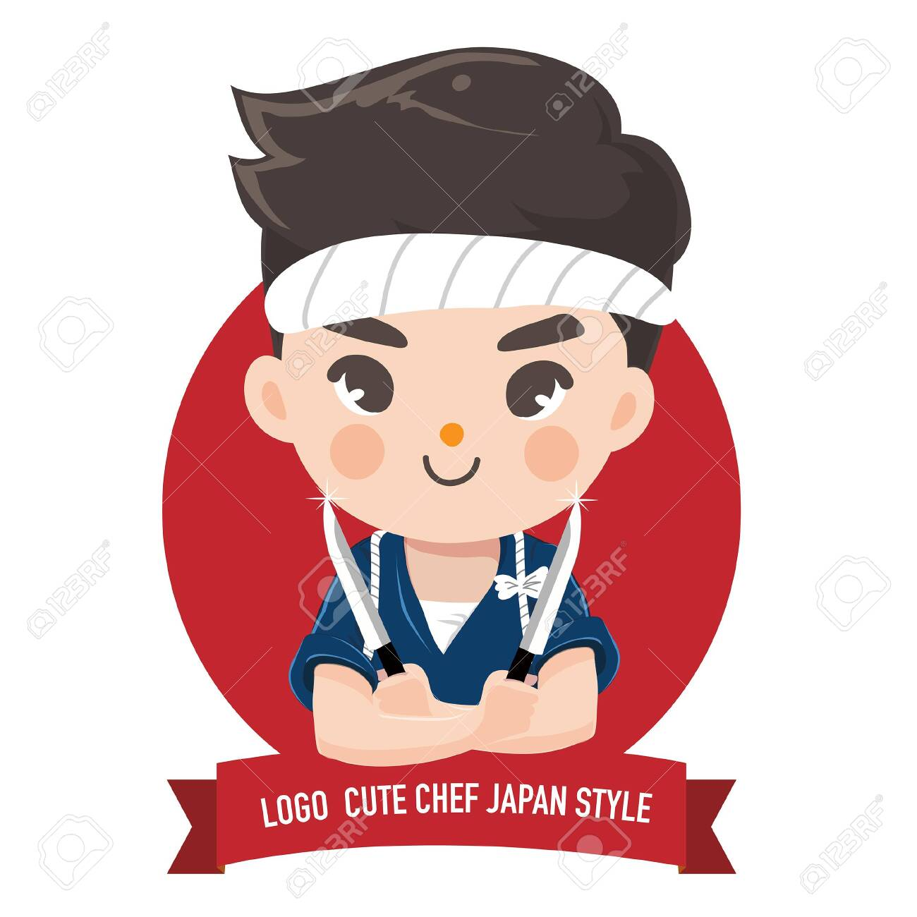 The little japan boy chef's logo is happy,tasty and confident smile. - 123529030
