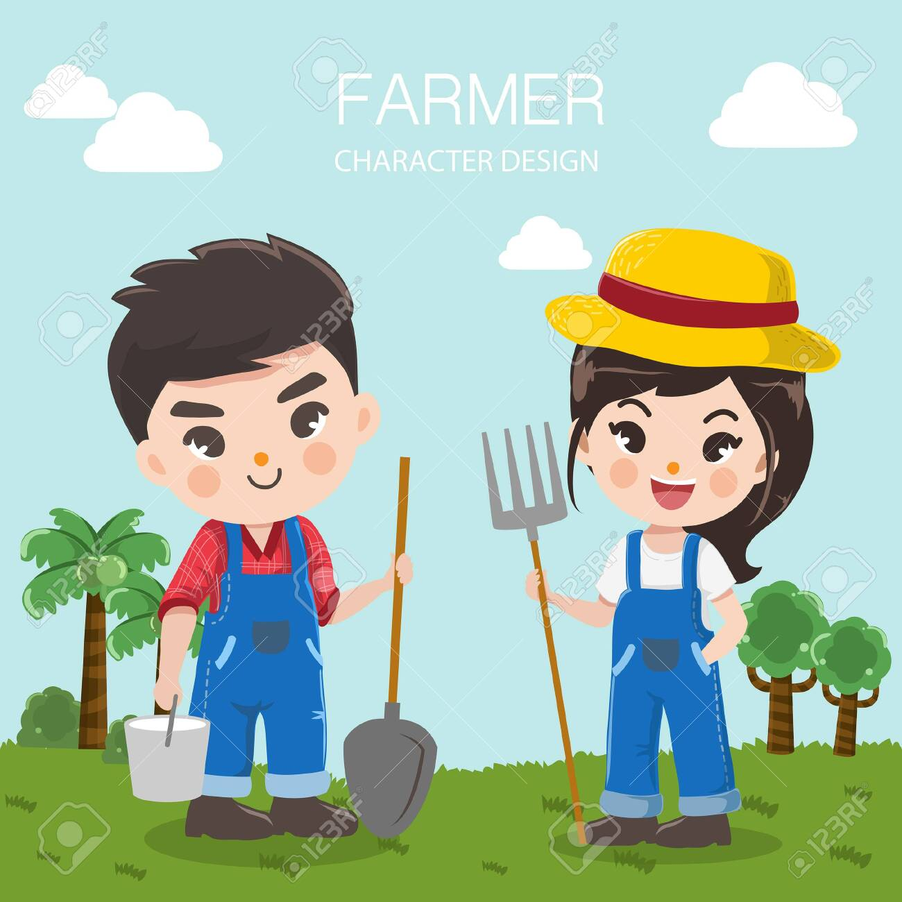 character design for livestock farms with farmers boy and girl in the background meadow and bright sky. - 123529068