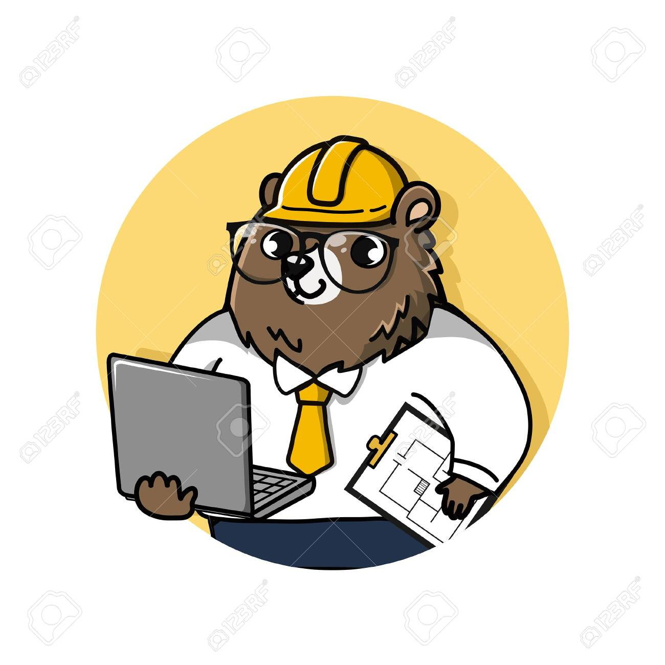 logo cute and friendly bear engineer holds a laptop computer and drawing documents. - 123529070