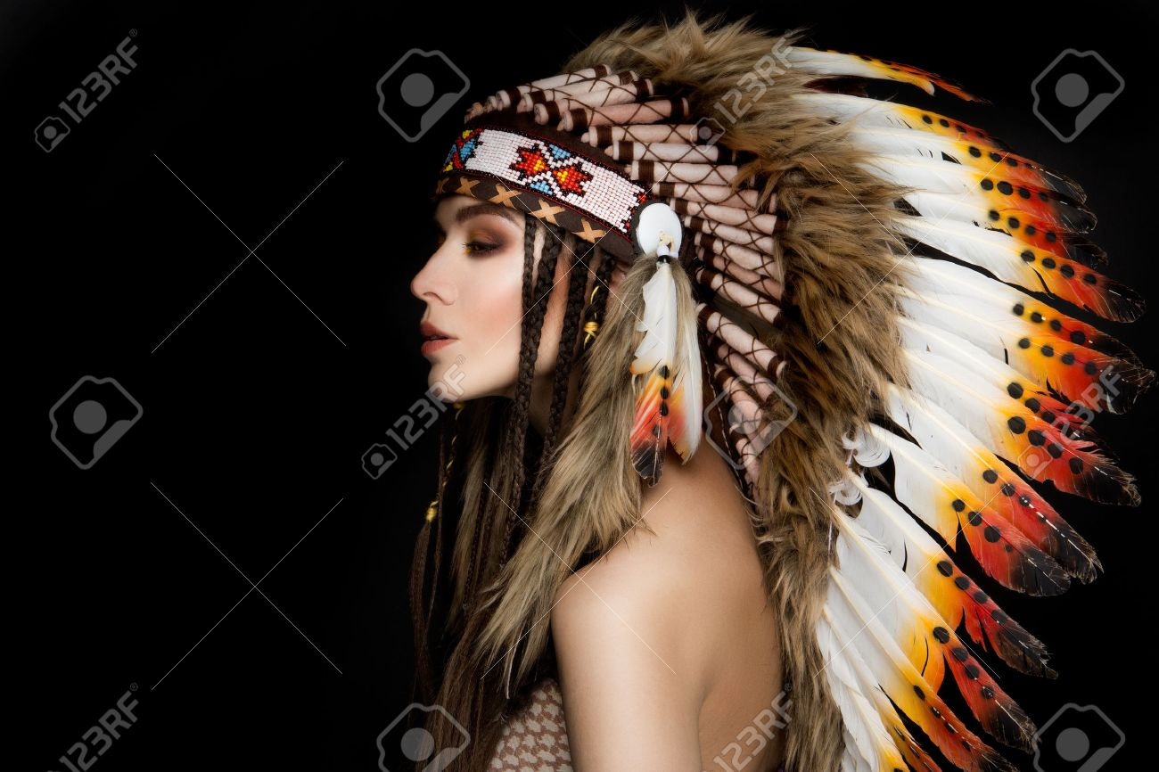 Beautiful Ethnic Lady With Roach On Her Head Indian Stock Photo