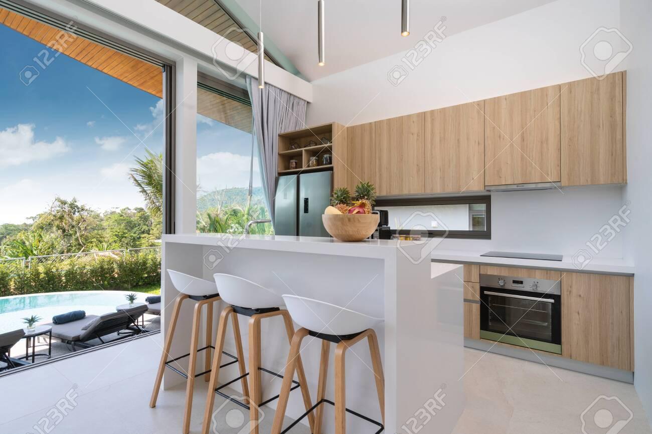 Interior design in villa, house, home, condo and apartment feature..