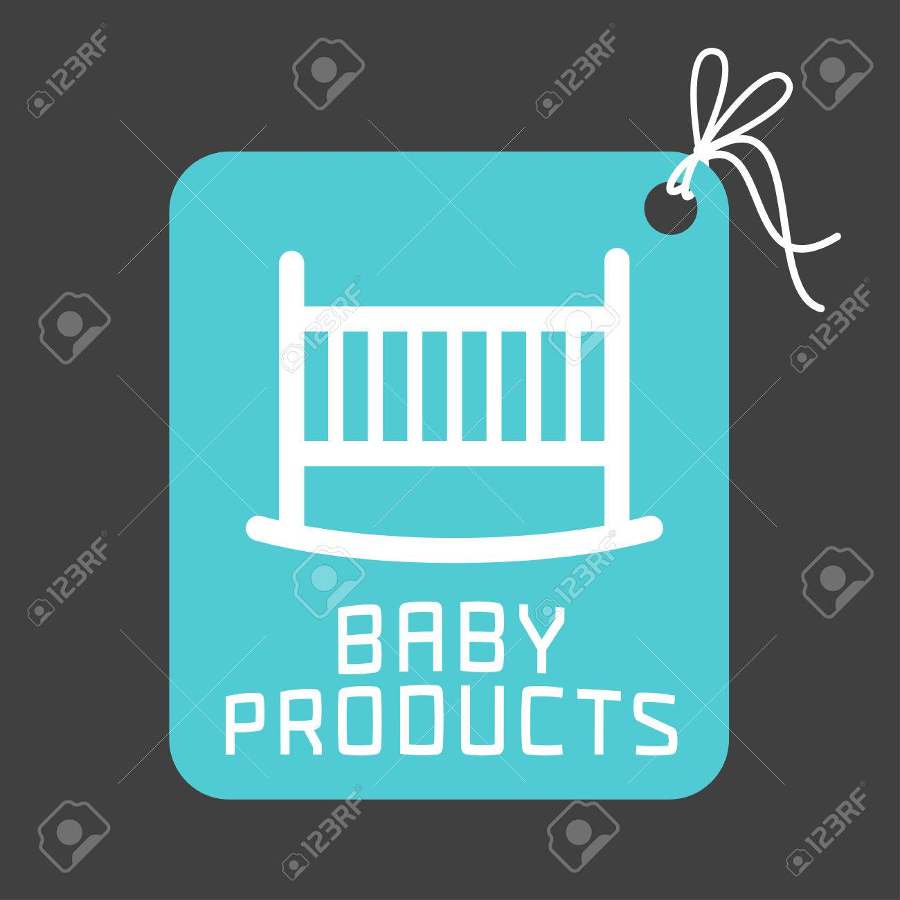 e7427383d Baby Products Vector Logo. Emblem With A Cute Crib For A Shop ...