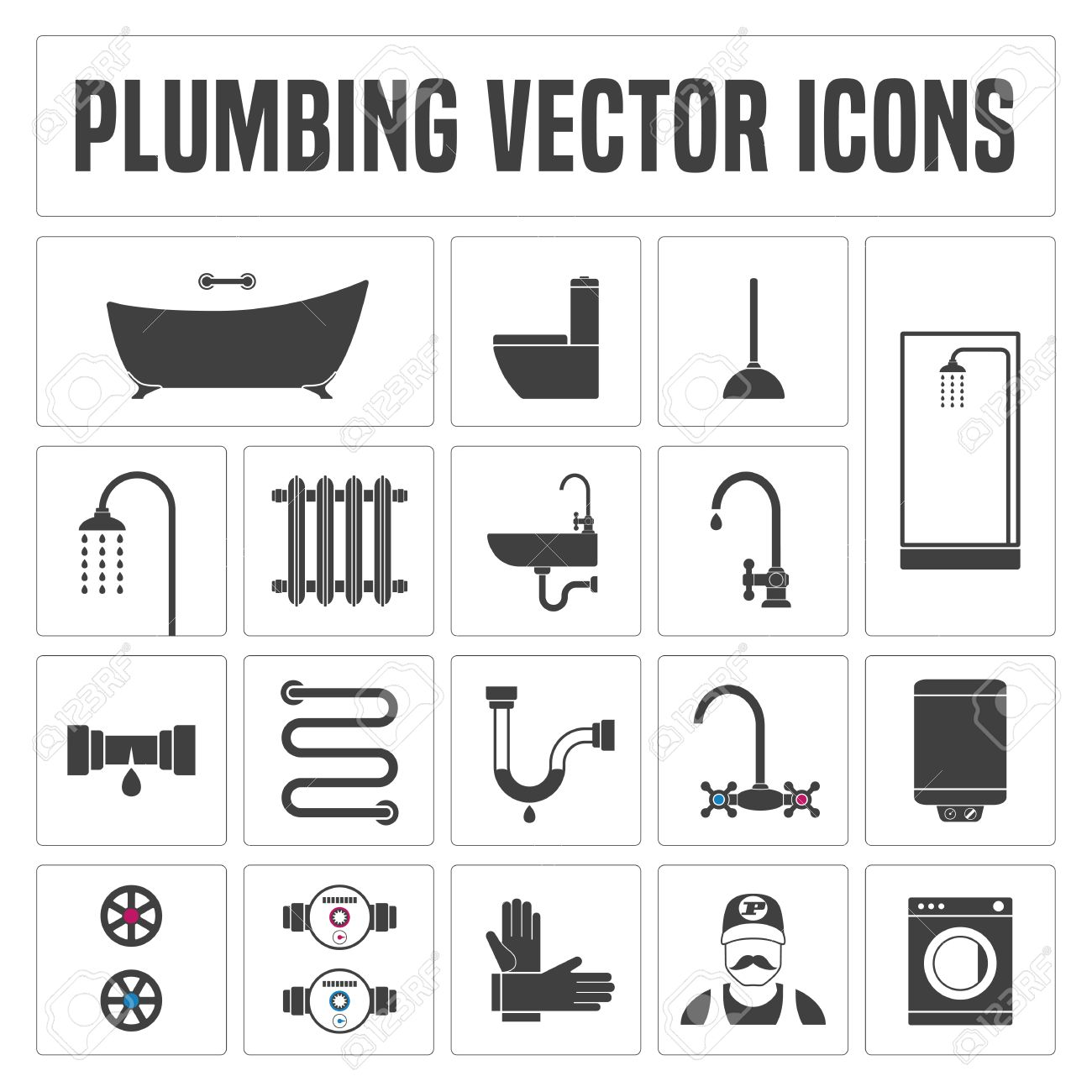 Collection Of Vector Plumbing Symbols And Icons Illustrations