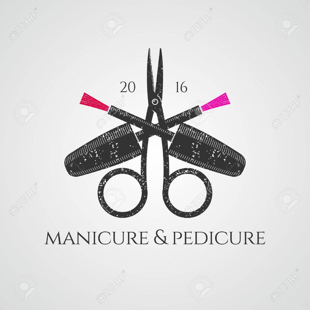 Manicure vector logo. Nonstandard design, colorful illustration - 58114637