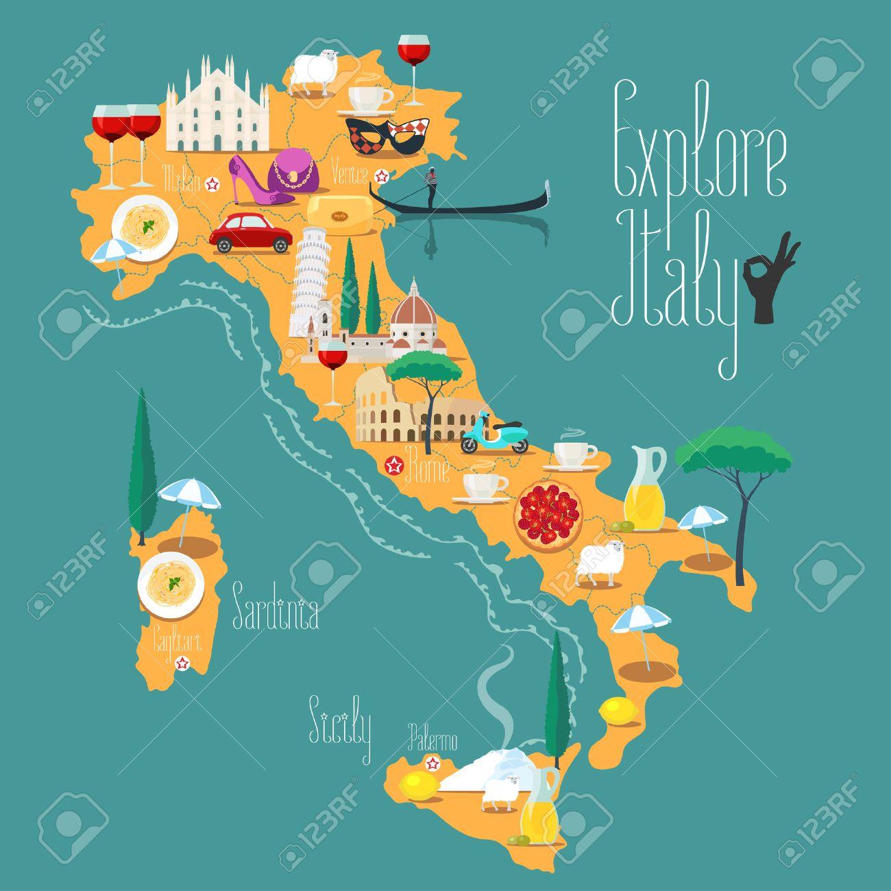 Carte Italie Et Sardaigne.Carte De L Italie Illustration Vectorielle La Conception Icones
