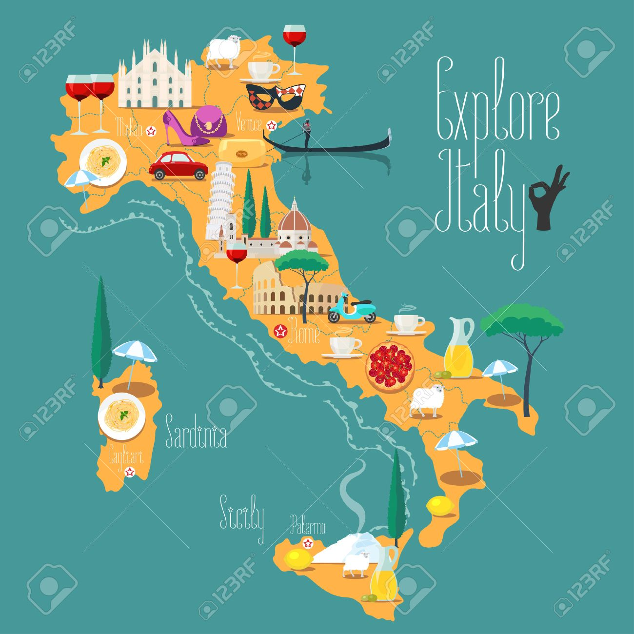 Map of Italy vector illustration, design. Icons with Italian Colosseum, pizza, wine, cathedral. Sicilia and Sardinia islands. Explore Italy concept image - 58992660