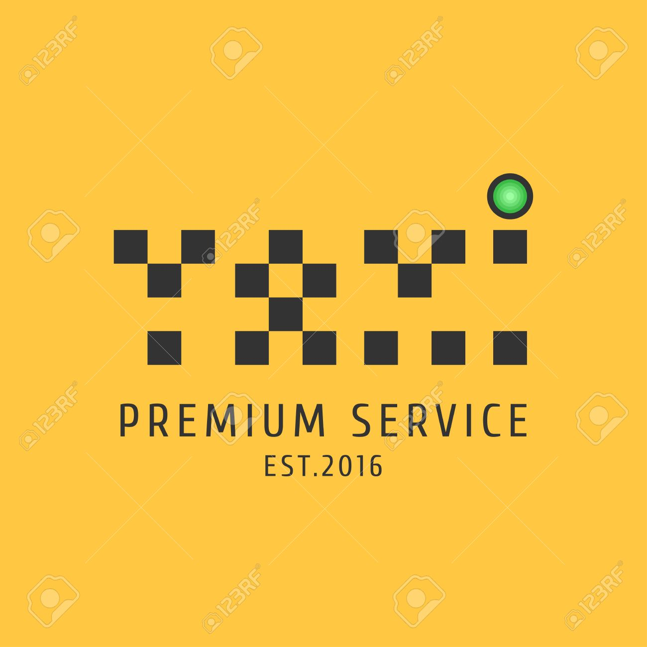 Taxi Cab Vector Logo Icon Car Hire Black And Yellow Background