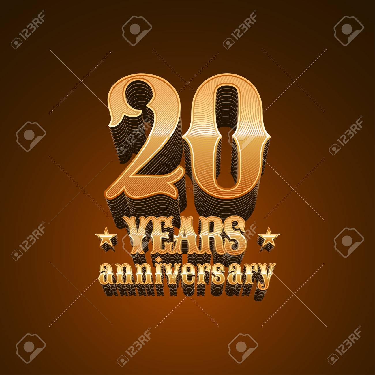 20 Years Anniversary Vector Icon 20th Birthday Decoration Design