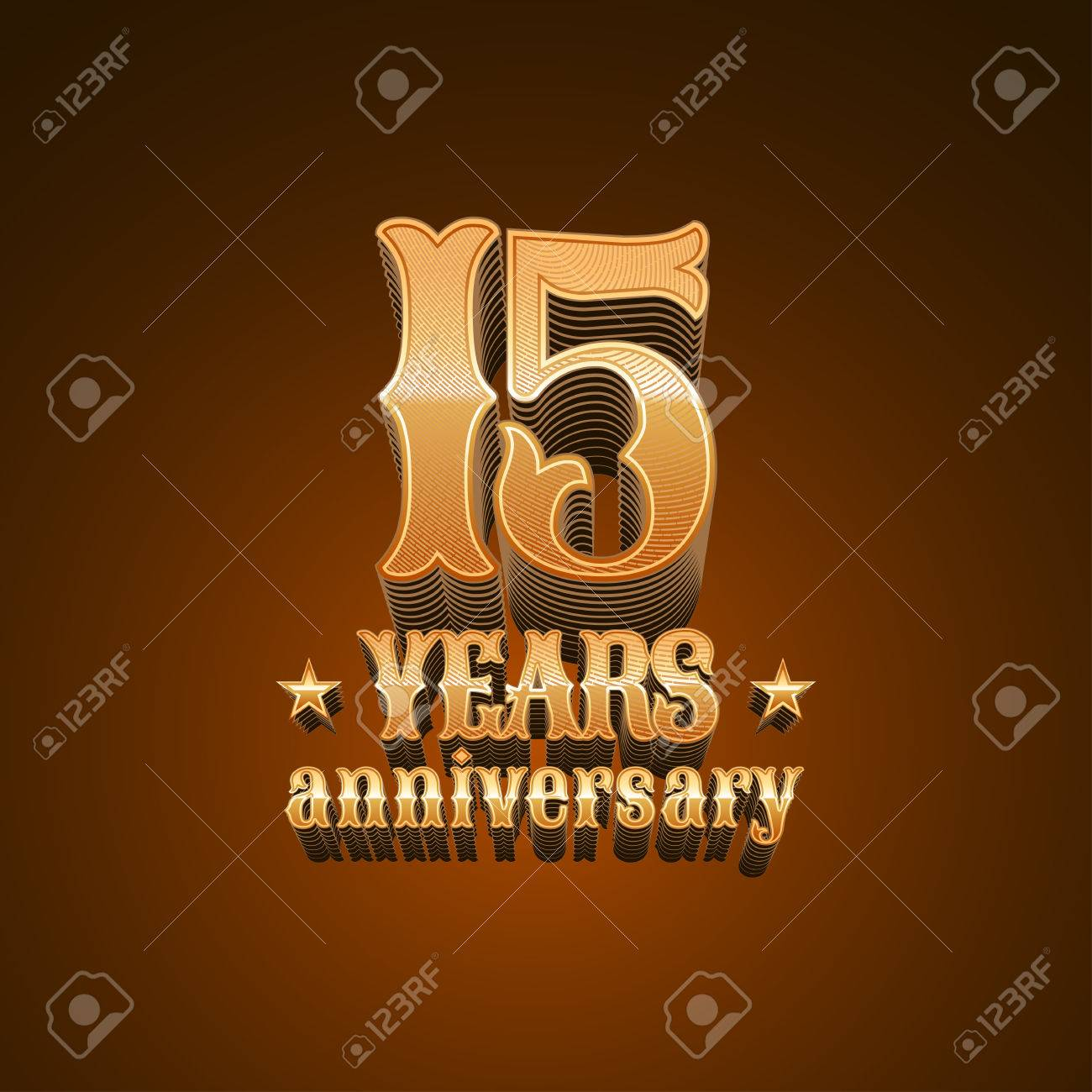 15 Years Anniversary Vector Icon 15th Birthday Decoration Design