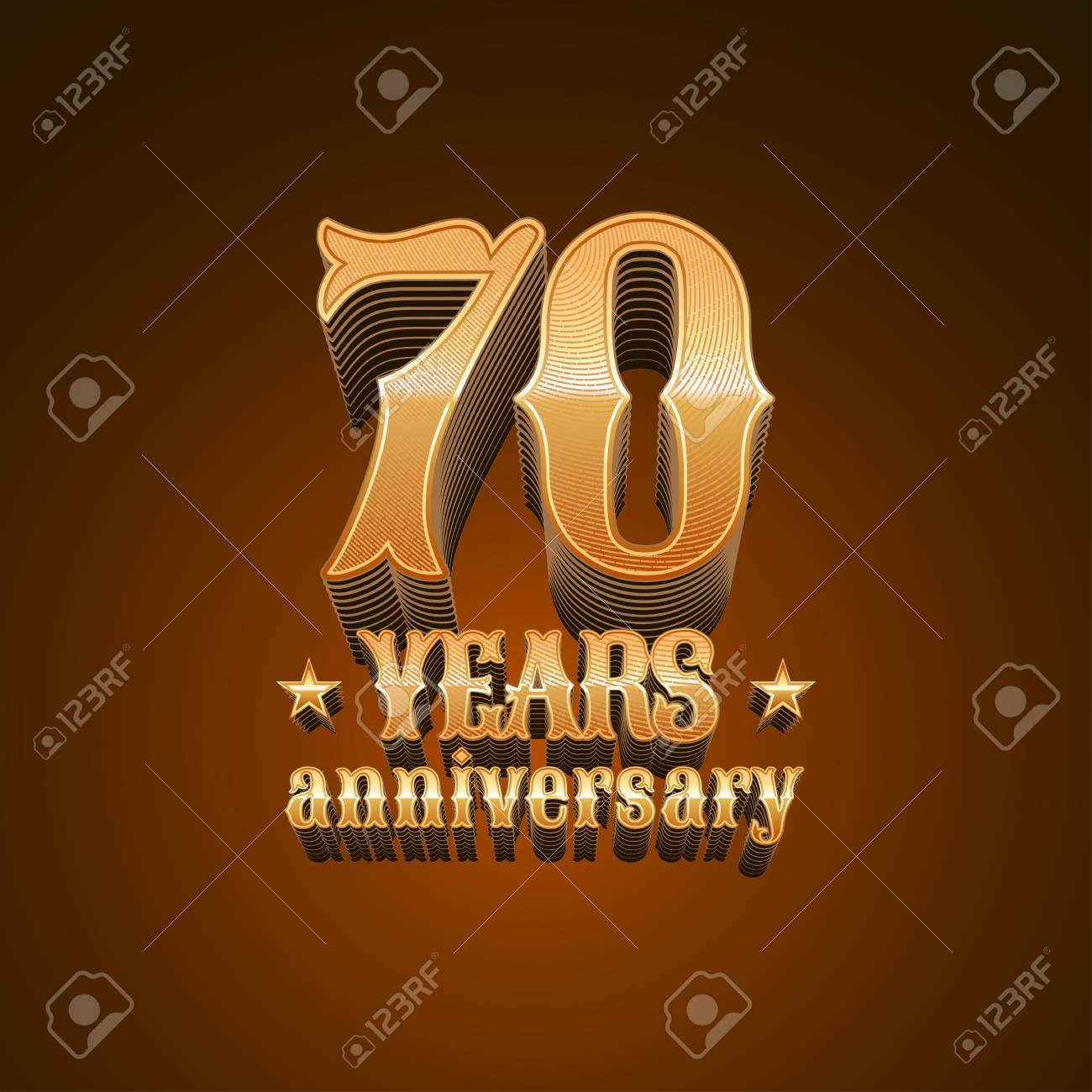 70 Years Anniversary Vector Icon 70th Birthday Decoration Design