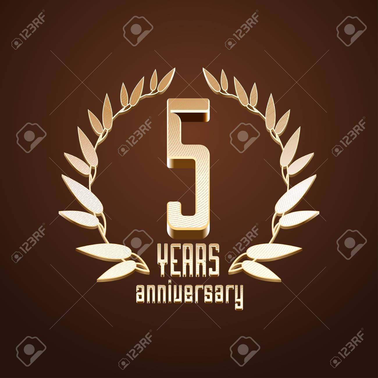5 Years Anniversary Vector 5th Birthday Age Classic Decoration